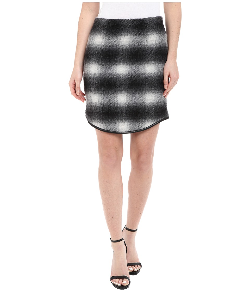 Karen Kane - Plaid Curved Hem Skirt (Black/Gray) Women's Skirt