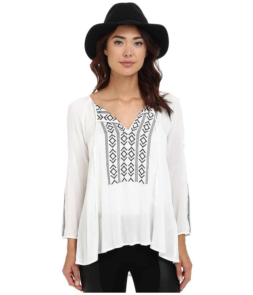 BB Dakota - Mckenna Embroidered Peasant Top (Dirty White) Women's Blouse