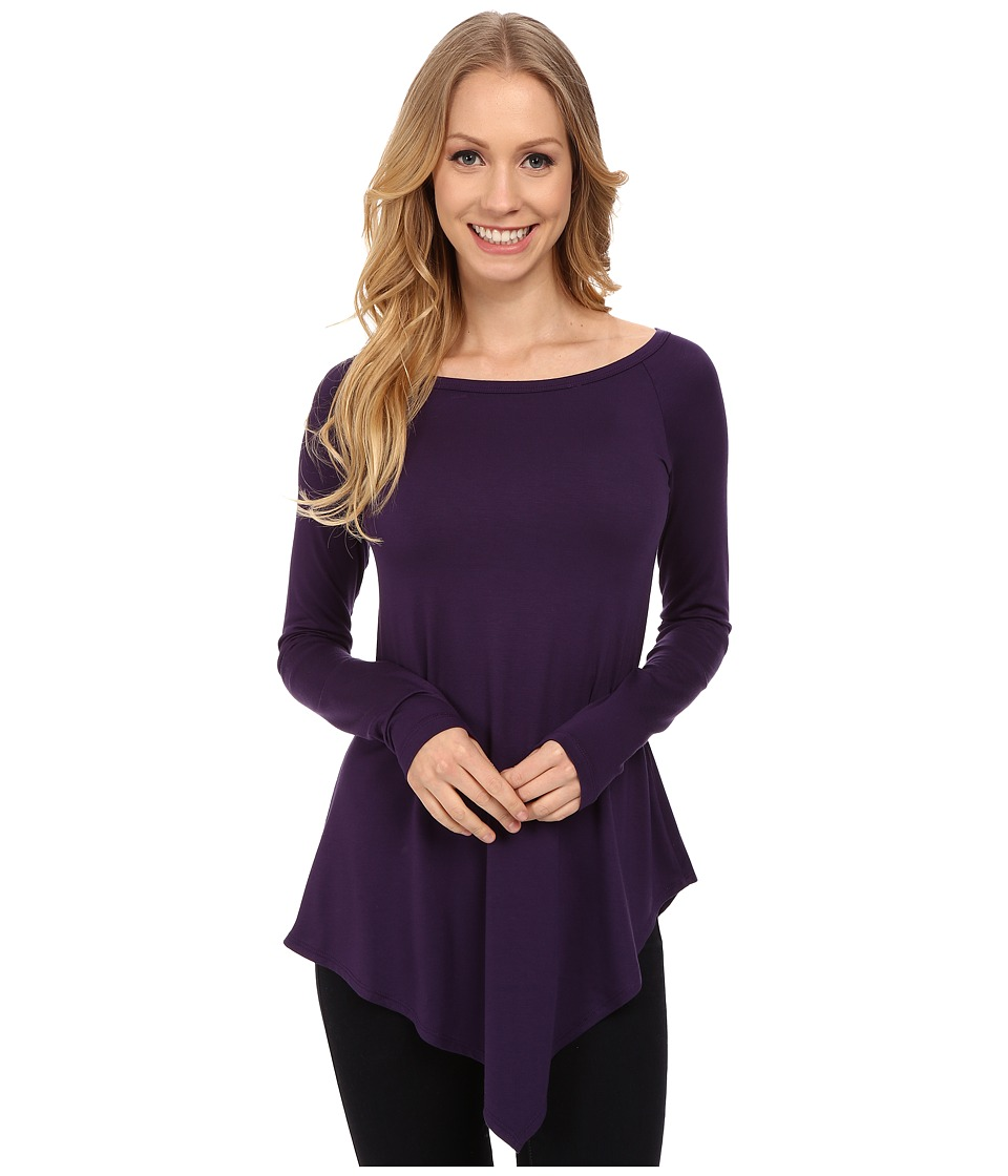 Karen Kane - Raglan Sleeve Angle Hem Top (Purple) Women