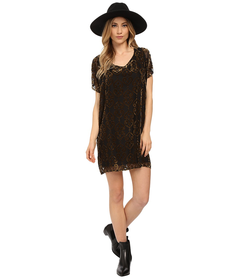 BB Dakota - Milan Burnout Velvet Poncho Dress (Black) Women's Dress