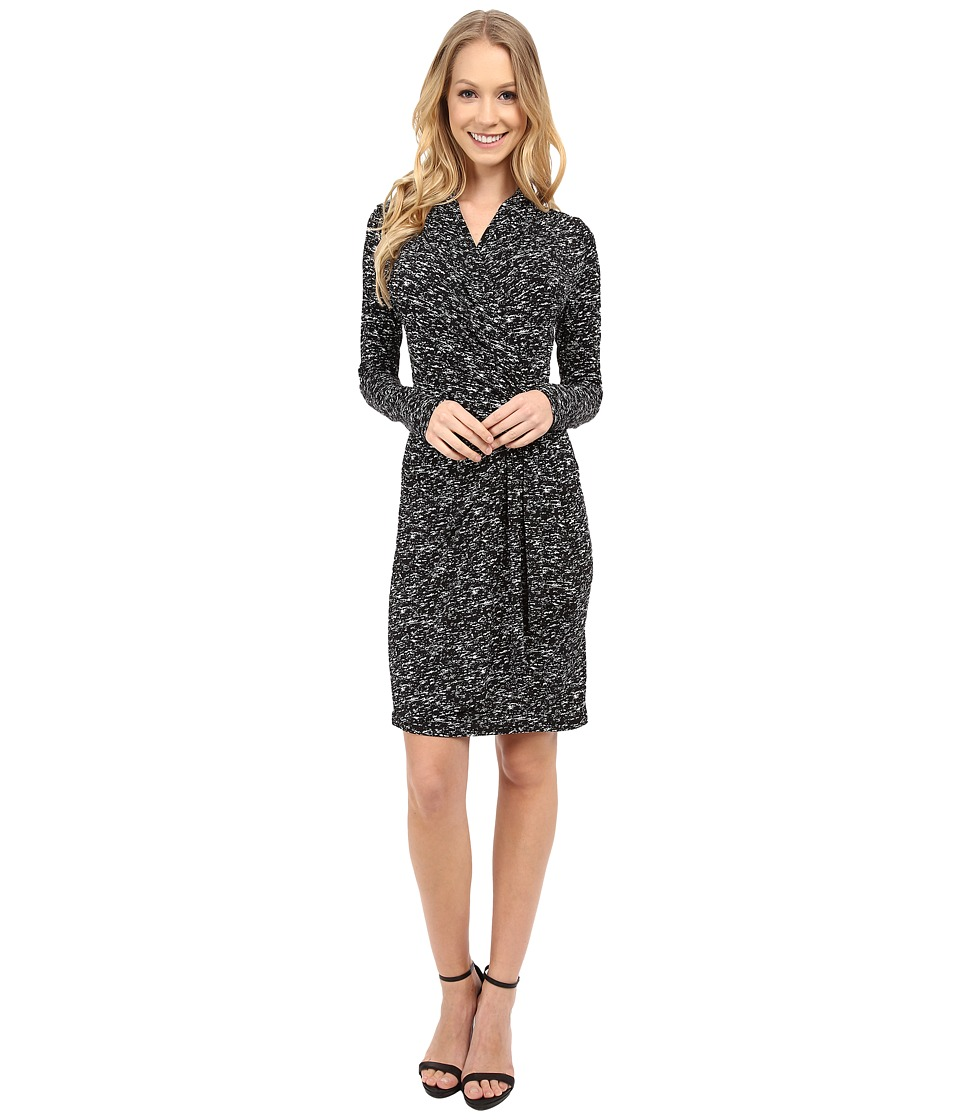 Karen Kane - Speckle Print Cascade Wrap Dress (Black/Off White) Women's Dress