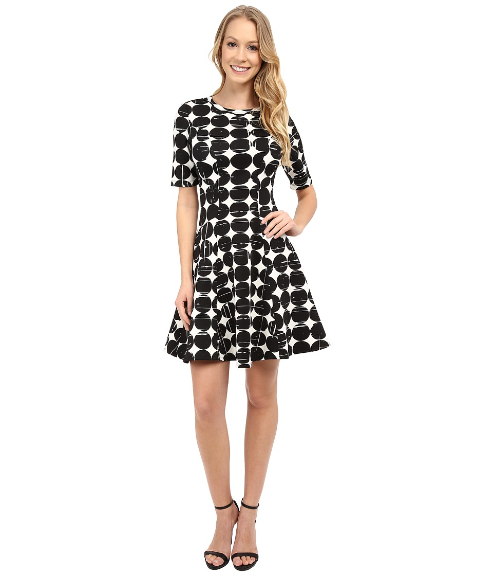 Karen Kane - Contrast Dot Scuba Dress (Black/Off White) Women's Dress