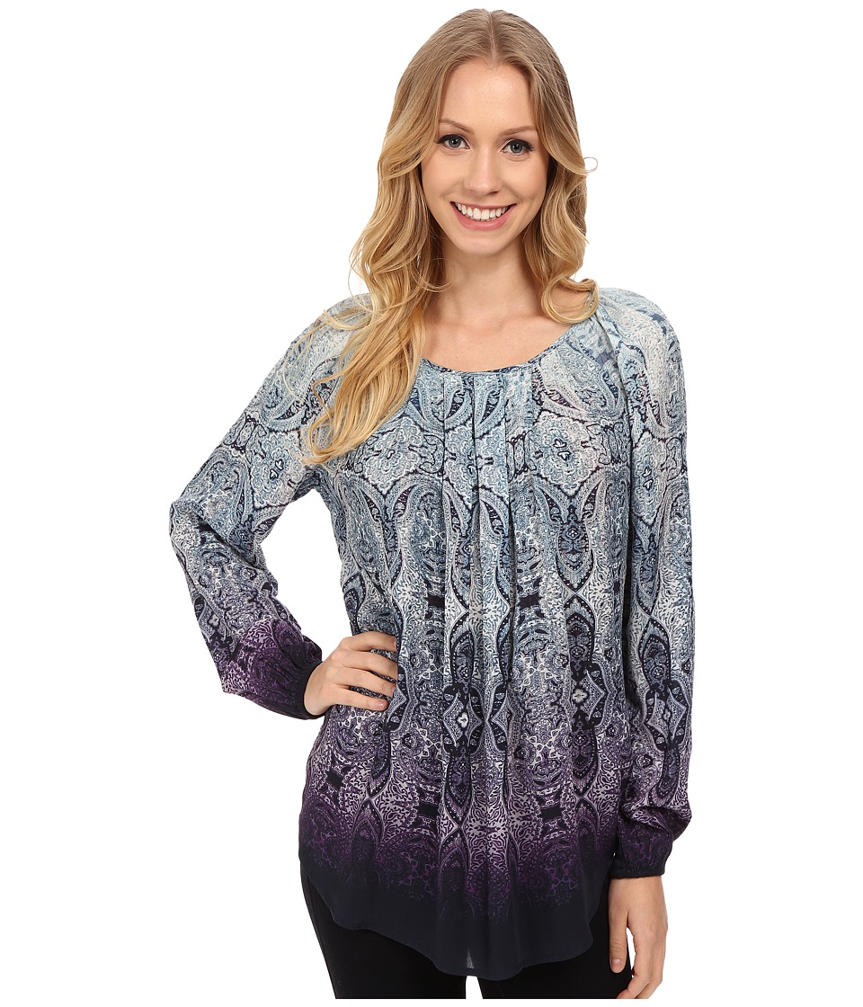 Karen Kane - Ombre Paisley Pleat Front Blouse (Print) Women's Blouse
