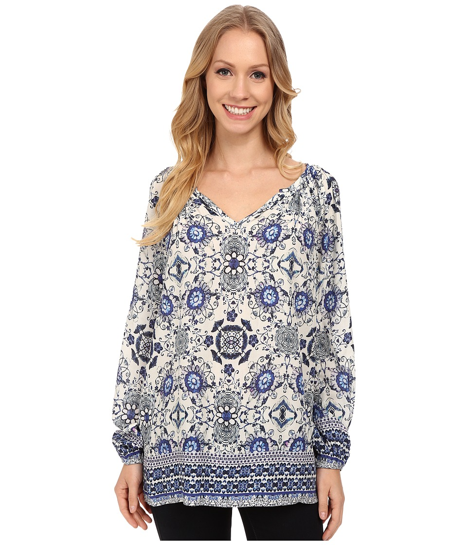 Karen Kane - Aquamarine Tile Peasant Top (Print) Women's Blouse