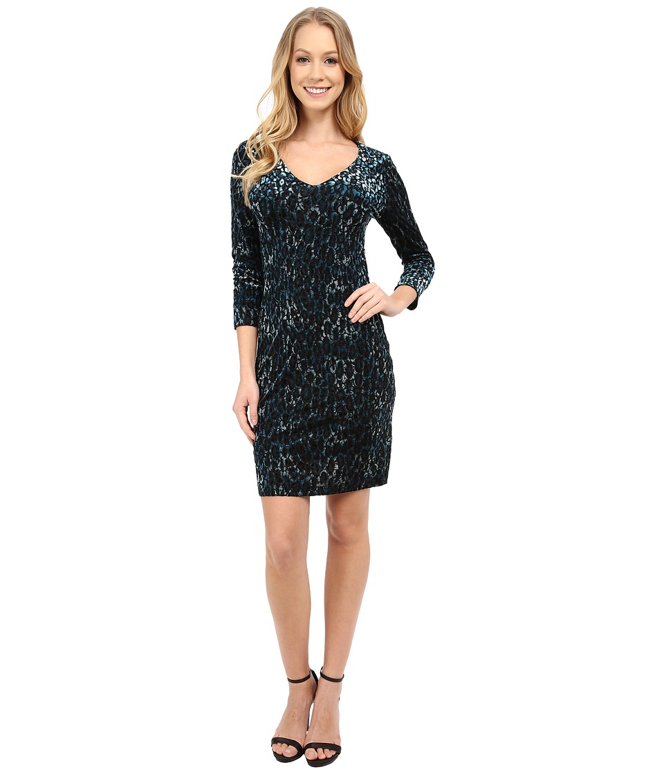 Karen Kane - Animal Burnout Sheath Dress (Print) Women's Dress