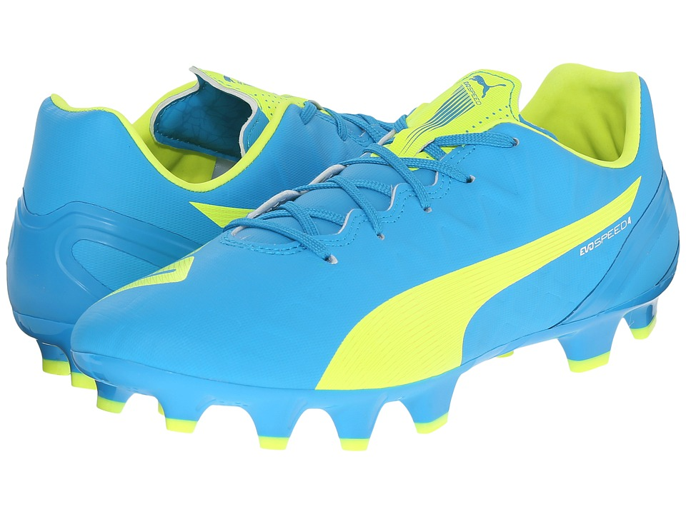 PUMA - evoSPEED 4.4 FG (Atomic Blue/Safety Yellow/White) Women's Soccer Shoes