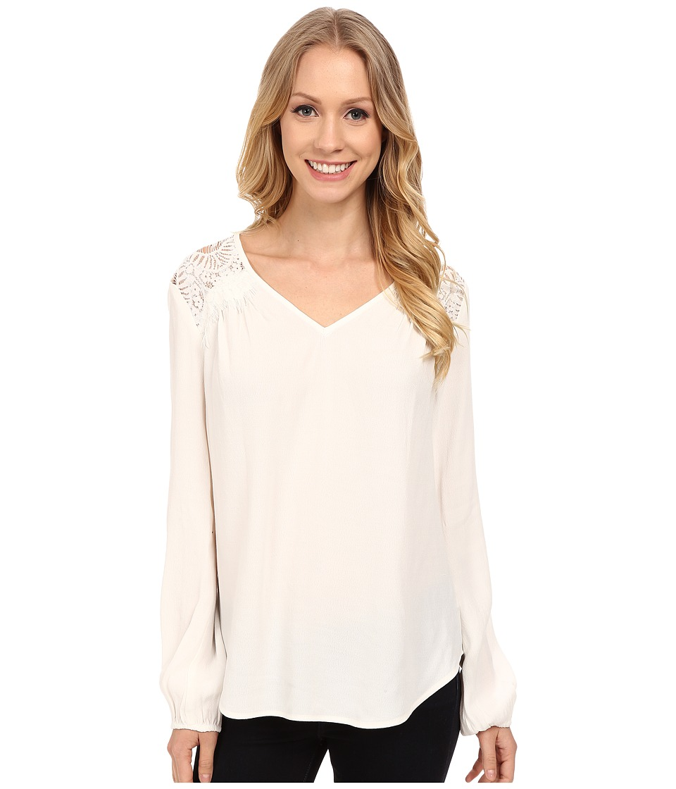 Karen Kane Lace Yoke Crepe Top (Off White) Women's Clothing