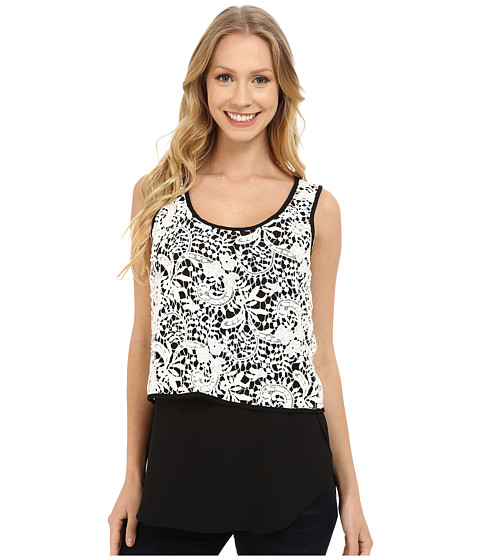 Karen Kane - Double Layer Lace Tank Top (Black/Off White) Women's Sleeveless