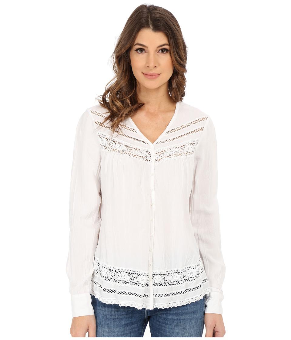 Karen Kane - Long Sleeve Lace Inset Top (Off White) Women's Clothing