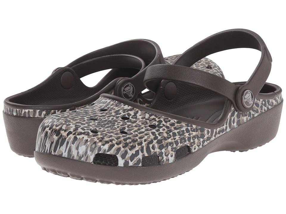 Crocs - Karin Leopard Print Clog (Espresso) Women's Clog Shoes