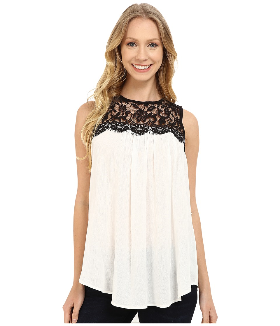 Karen Kane - Lace Yoke Top (Off White/Black) Women's Clothing