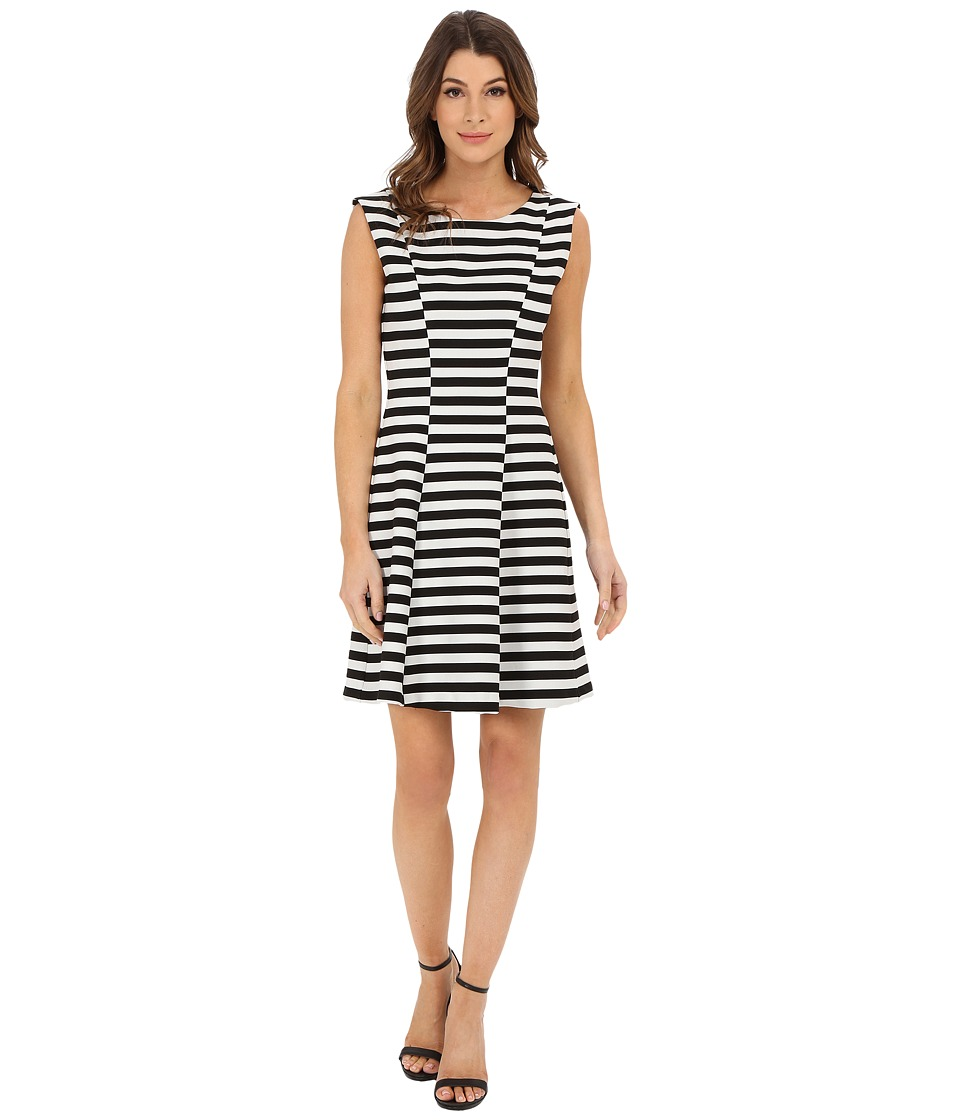 Karen Kane Inverted Stripe Dress (Black/Off White) Women