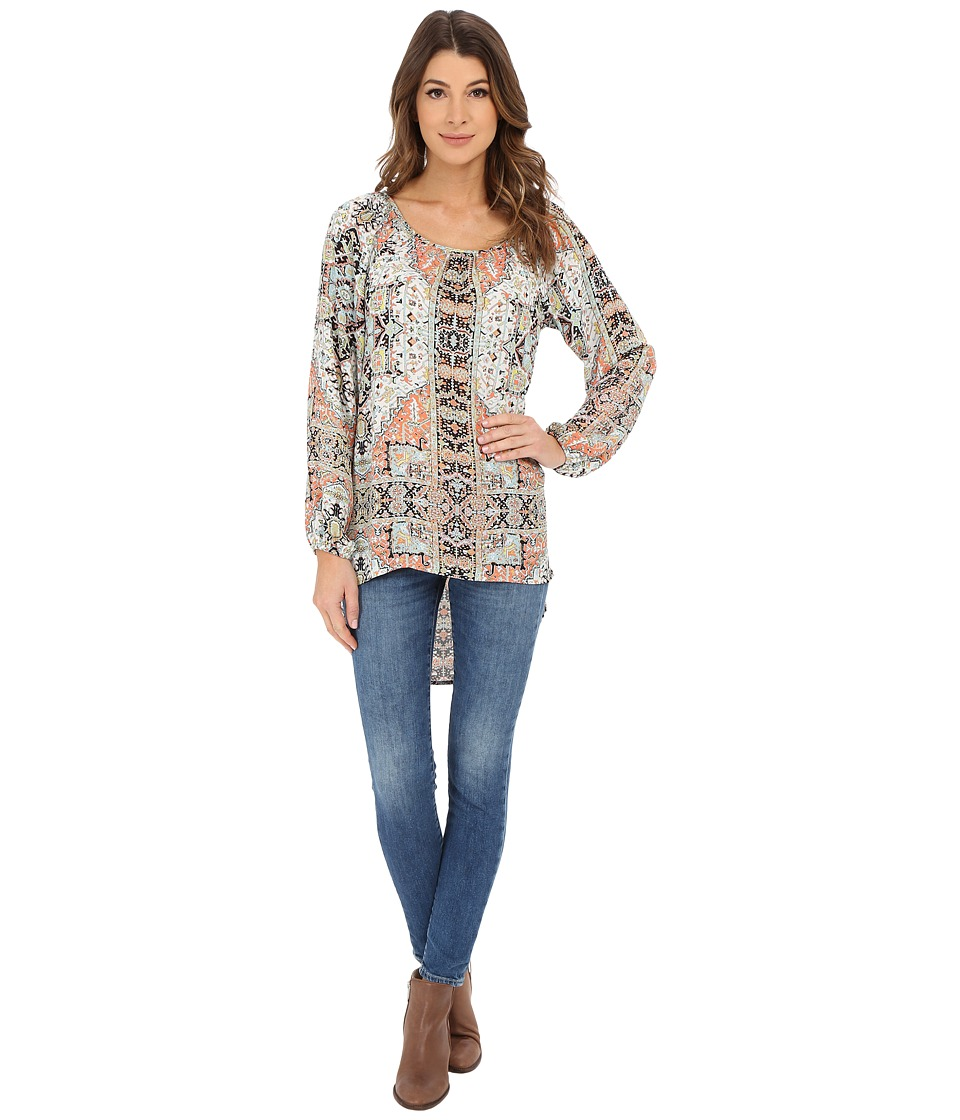 Karen Kane - Hi-Lo Peasant Top (Print) Women's Clothing