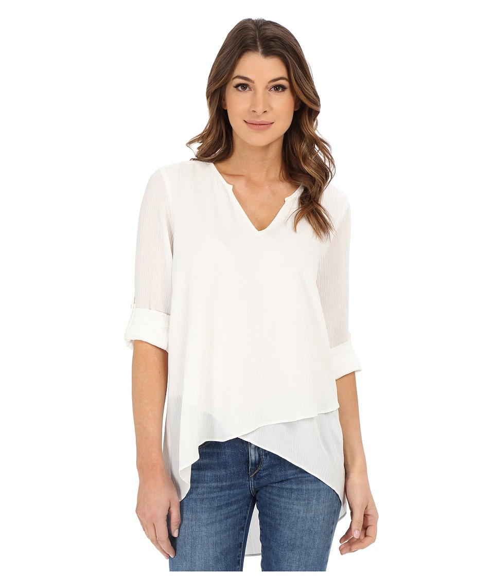 Karen Kane - Split Neck Asymmetrical Hem Top (Off White) Women's Clothing