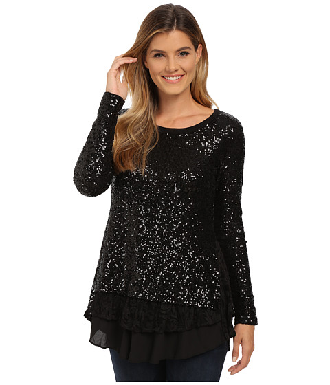Karen Kane - Sequin Knit Lace Inset Top (Black/Black) Women's Blouse
