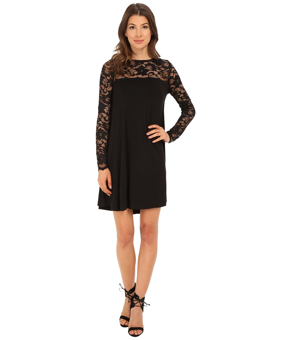 Karen Kane - Long Sleeve Lace Yoke Swing Dress (Black) Women's Dress