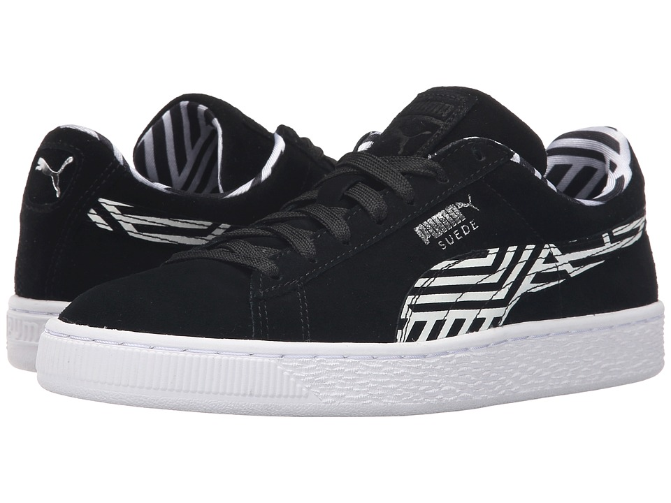 PUMA - Suede Classic + Stripes (Black/White) Women's Shoes