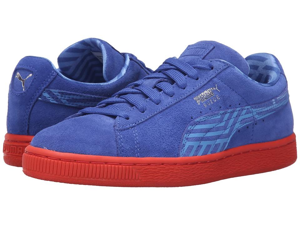 PUMA - Suede Classic + Stripes (Dazzling Blue/Marina Blue/Grenadine) Women's Shoes
