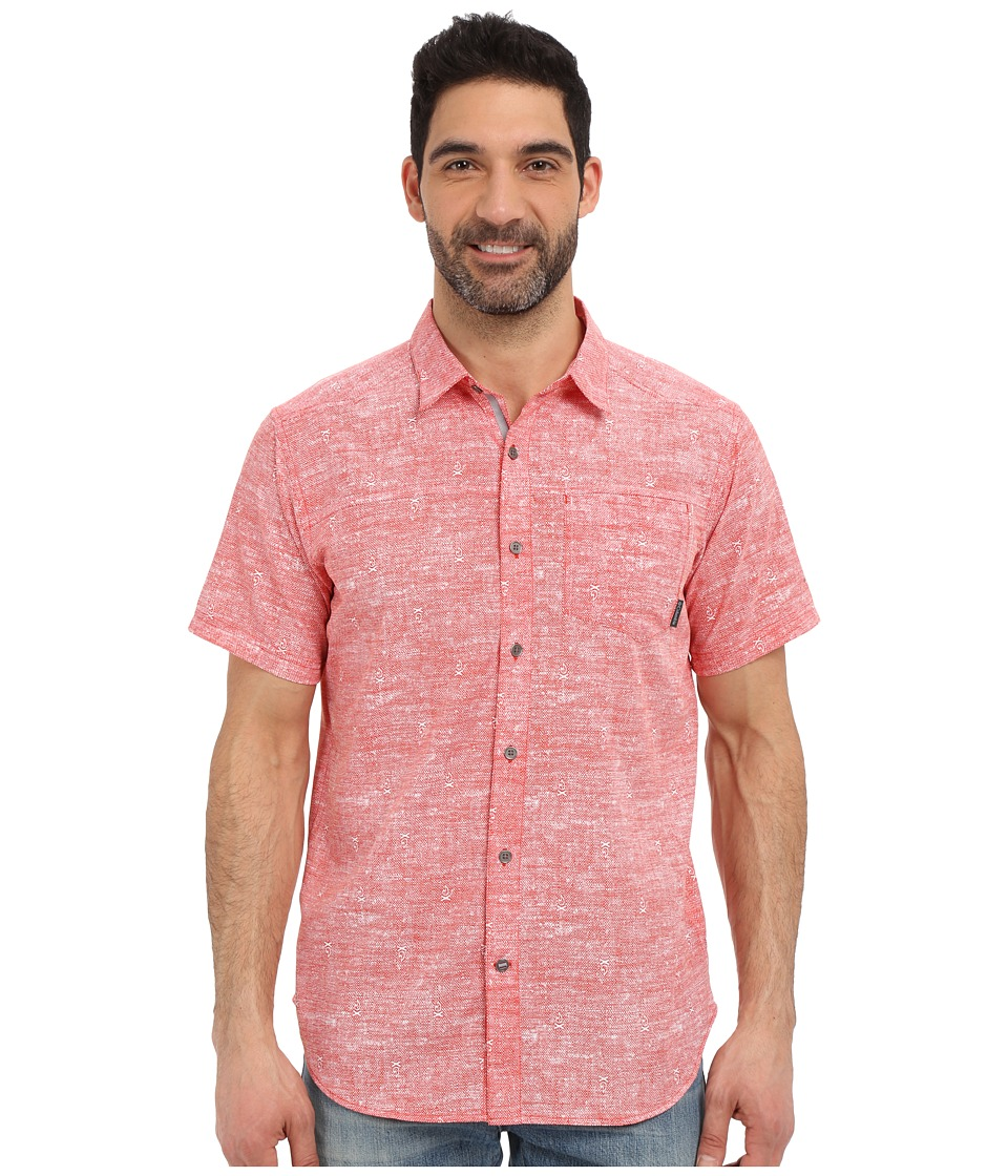 Columbia - Pilsner Peak Print Short Sleeve Shirt (Super Sonic Campfire) Men's Short Sleeve Button Up