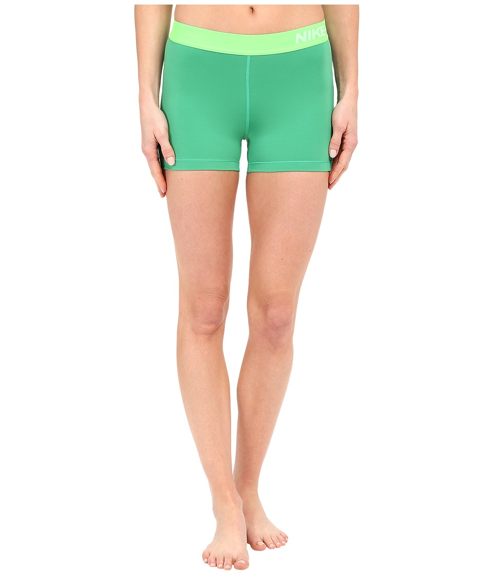Nike Pro 3 Cool Compression Training Short (Sprng Leaf/White) Women