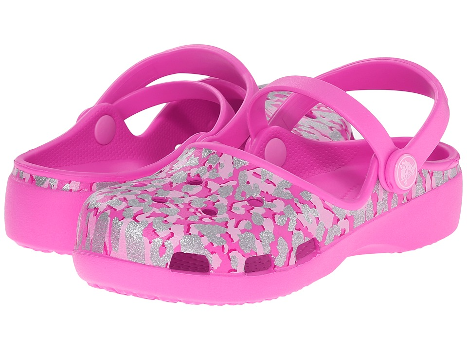 Crocs Kids - Karin Sparkle Leopard Clog (Toddler/ Little Kid) (Party Pink) Girls Shoes