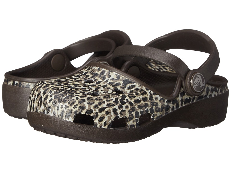Crocs Kids - Karin Leopard Clog (Toddler/ Little Kid) (Espresso) Girls Shoes