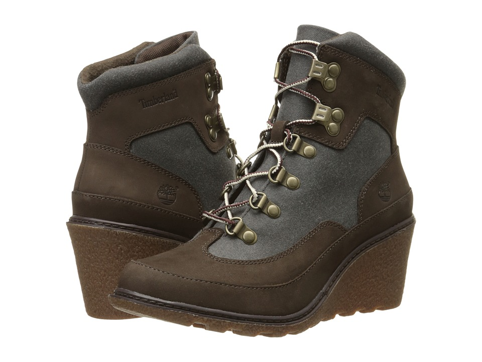 Timberland - Amston Hiker (Dark Brown Nubuck with Black Waxed Canvas) Women's Boots