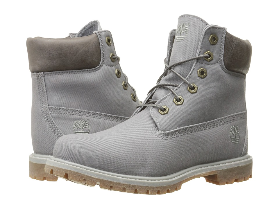 Timberland - 6 Premium Boot (Dark Grey Waxed Canvas) Women's Lace-up Boots