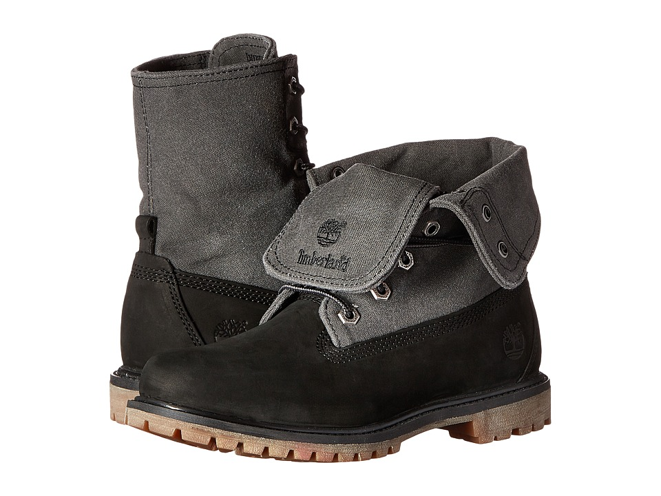 Timberland - Earthkeepers Timberland Authentics Canvas Fold Down (Black Nubuck with Grey Canvas) Women's Boots