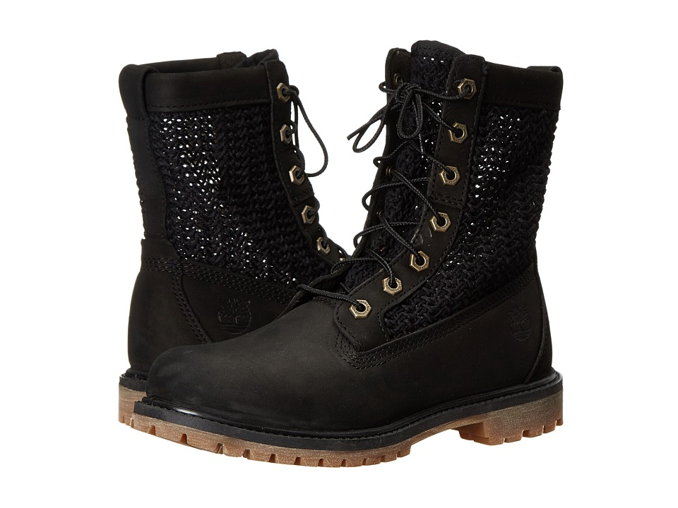 Timberland - Timberland Authentics Open Weave 6 Boot (Black Nubuck with Black Weave) Women's Boots