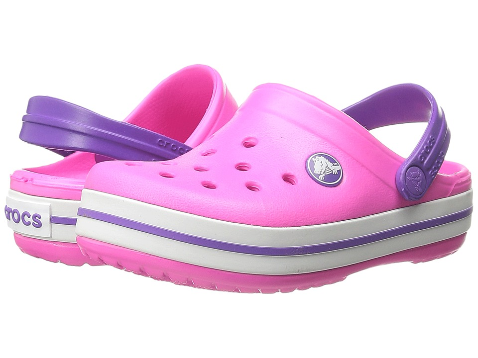 Crocs Kids - Crocband (Toddler/Little Kid) (Neon Magenta/Purple) Girls Shoes