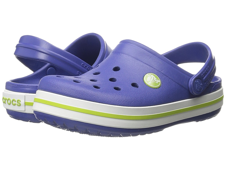 Crocs Kids - Crocband Clog (Toddler/Little Kid) (Cerulean Blue/Volt Green) Kids Shoes