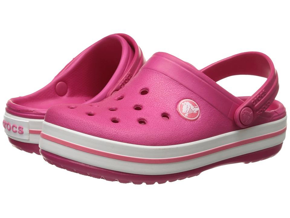 Crocs Kids - Crocband Clog (Toddler/Little Kid) (Raspberry/White) Kids Shoes