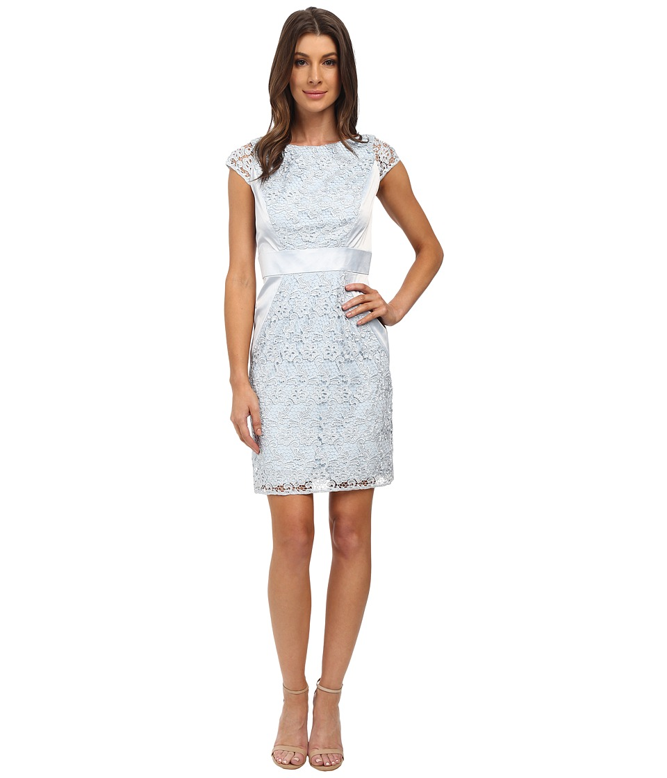 Jessica Simpson Lace Cap Sleeve Dress (Silver) Women