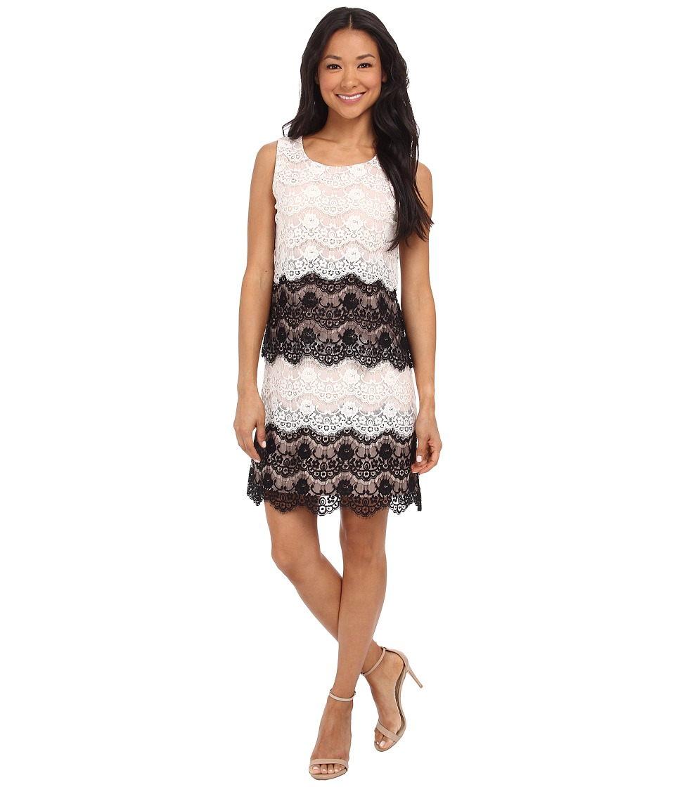 Jessica Simpson - Scallop Lace Tier Dress (Ivory/Black) Women's Dress