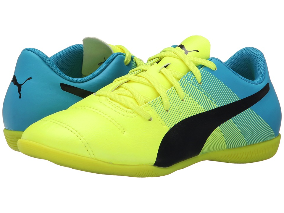 Puma Kids - evoPOWER 4.3 IT Jr Soccer (Little Kid/Big Kid) (Safety Yellow/Black/Atomic Blue) Kids Shoes