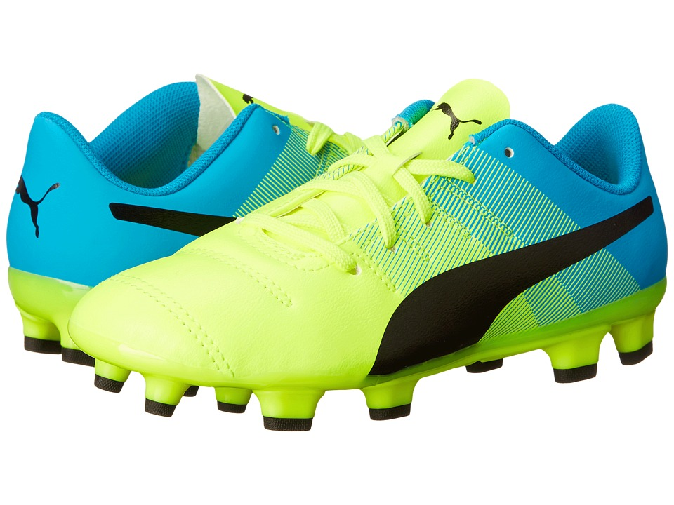 Puma Kids evoPOWER 4.3 FG Jr (Little Kid/Big Kid) (Safety Yellow/Black/Atomic Blue) Kids Shoes
