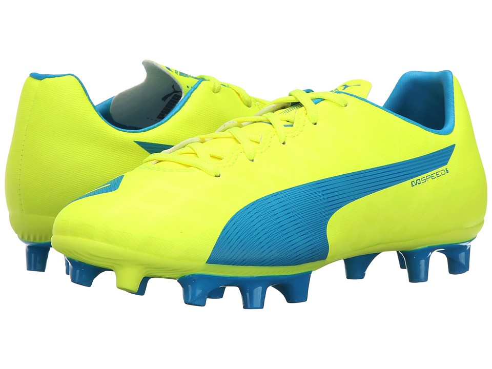 Puma Kids - evoSPEED 5.4 FG Jr (Little Kid/Big Kid) (Safety Yellow/Atomic Blue/White) Kids Shoes
