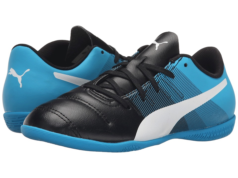 Puma Kids - evoPOWER 4.3 IT Jr Soccer (Little Kid/Big Kid) (Black/White/Atomic Blue/Safety Yellow) Kids Shoes