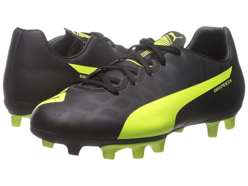 Puma Kids evoSPEED 5.4 FG Jr (Little Kid/Big Kid) (Black/Safety Yellow/White) Kids Shoes
