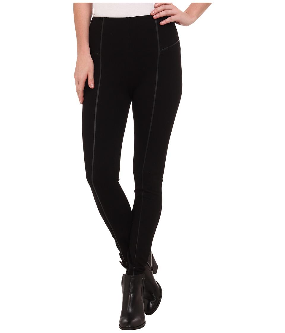 Lysse - Leather Inset Leggings (Black) Women's Casual Pants