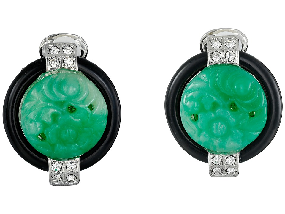 Kenneth Jay Lane - 7601EBJ Base and Top with Crystal Sides Deco Clip Earrings (Jade/Black) Earring
