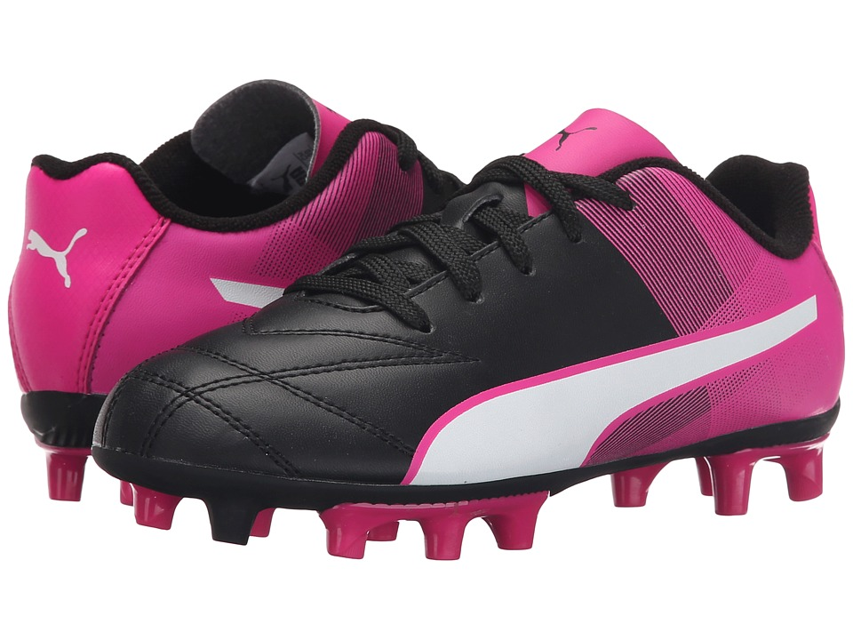 Puma Kids Adreno II FG Jr Soccer (Little Kid/Big Kid) (Black/White/Pink Glo) Kids Shoes