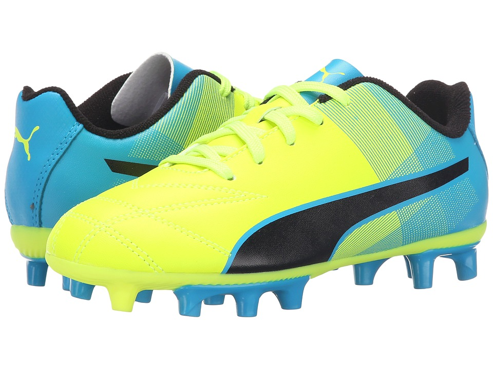 Puma Kids - Adreno II FG Jr Soccer (Little Kid/Big Kid) (Safety Yellow/Atomic Blue/Black) Kids Shoes