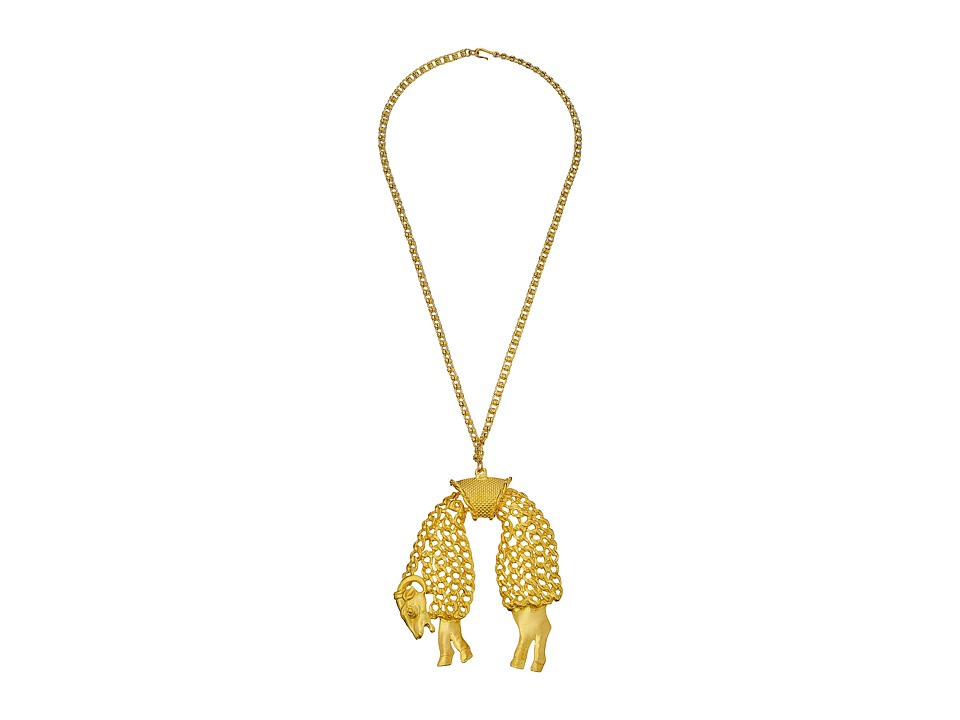 Kenneth Jay Lane - 4751N24SG Satin Sheep on Chain Necklace (Gold) Necklace