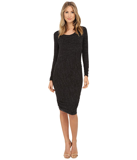 Lysse - Merrit Twist Dress (Black Slub) Women's Dress