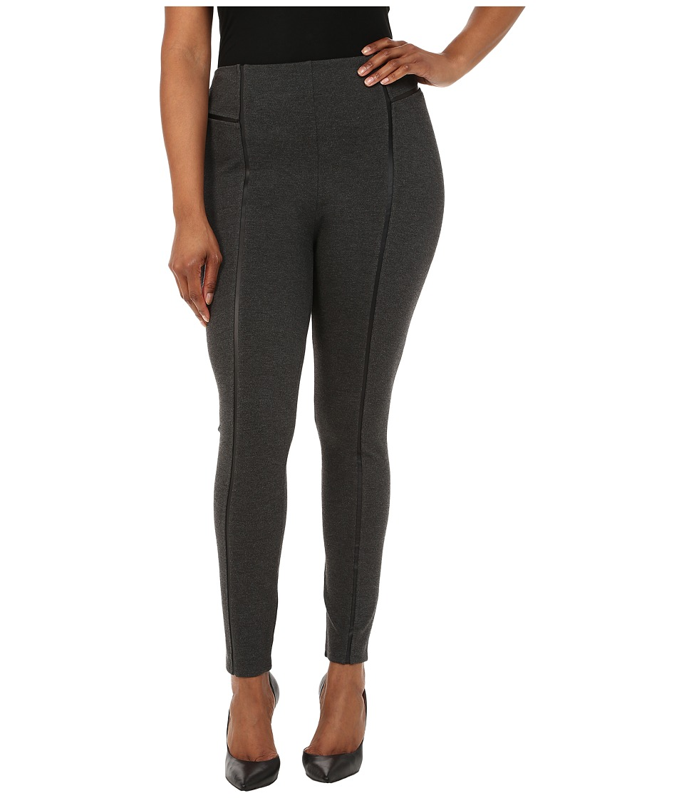 Lysse - Plus Size Leather Inset Leggings (Charcoal) Women's Casual Pants
