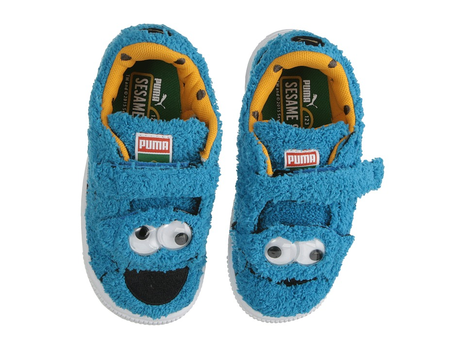Puma Kids - Basket Sesame Street Statement Cookie Monster (Toddler/Little Kid/Big Kid) (Atomic Blue/Black) Kids Shoes