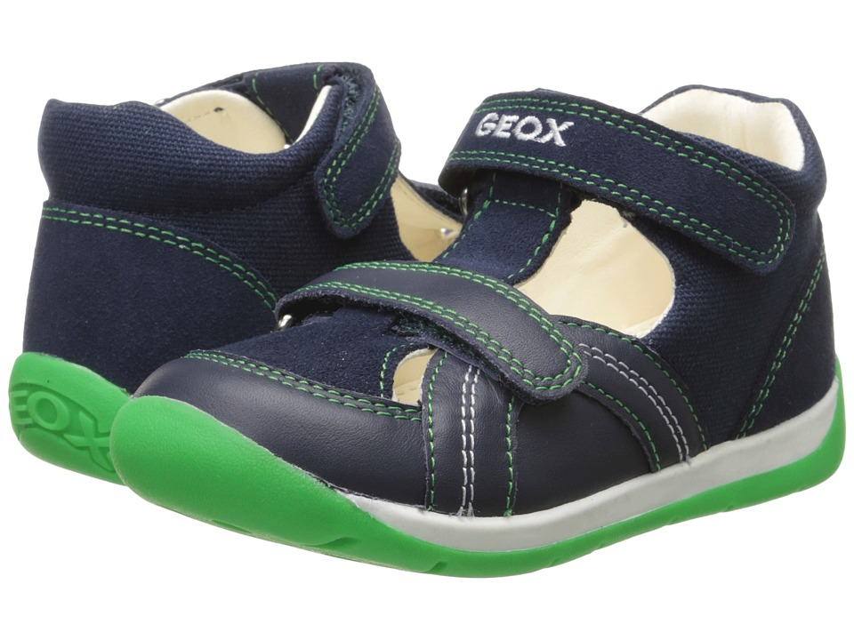Geox Kids - Baby Each Boy 6 (Infant/Toddler) (Navy/Green) Boy's Shoes