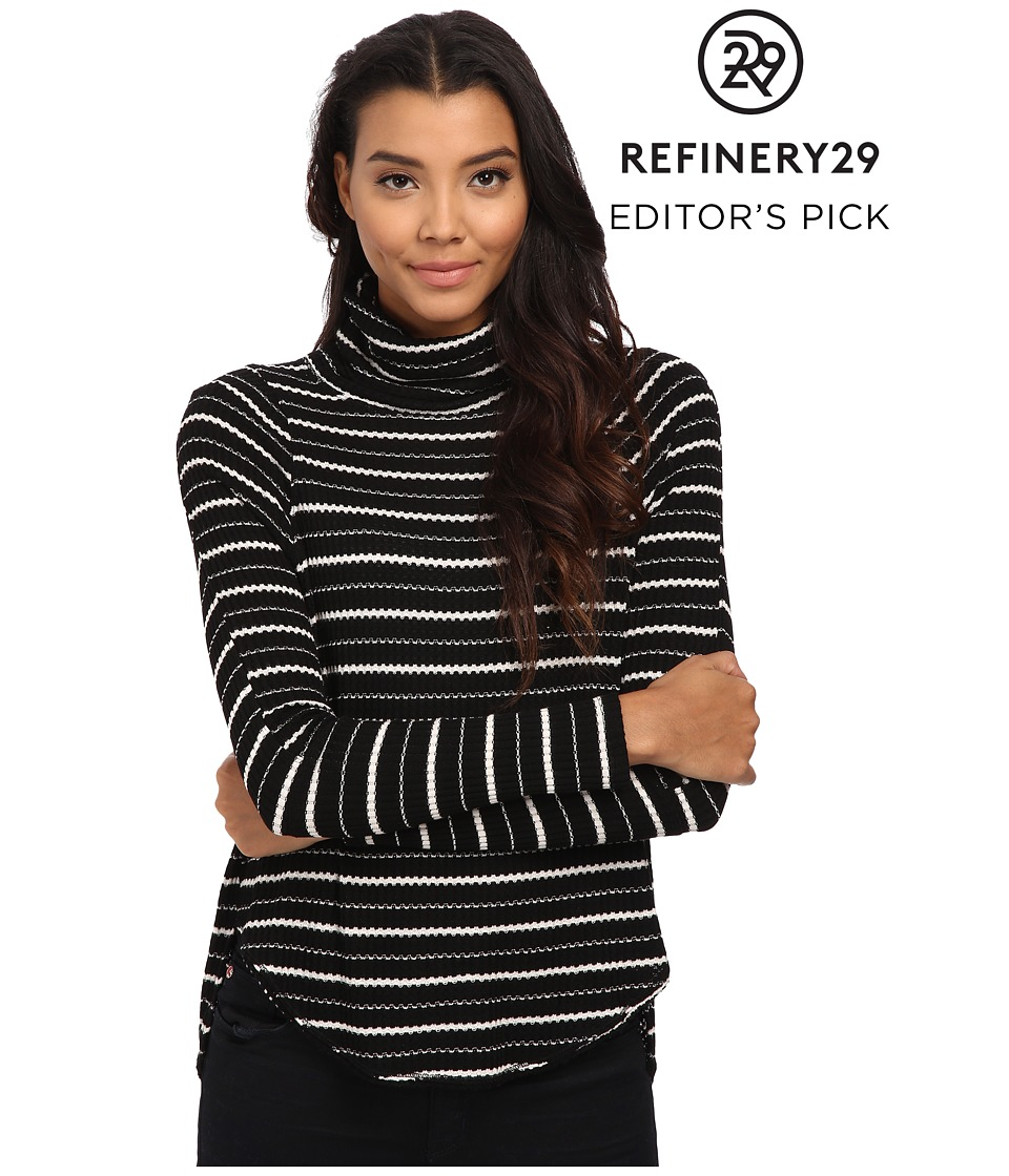 Free People - Drippy Striped Thermal Pullover (Black/Ivory) Women's Clothing